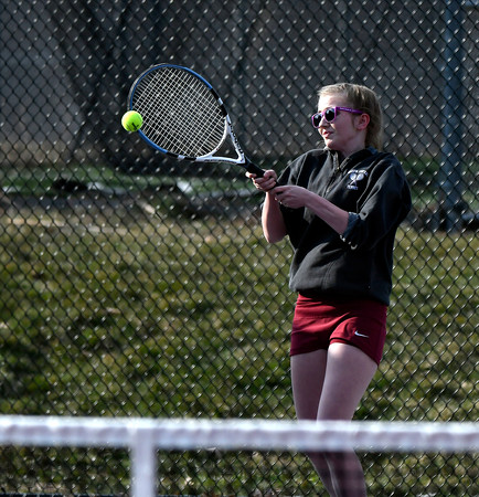 4/12/2018 Mike Orazzi | Staff Bristol Central's Michelle Helming during Thursday's tennis match.