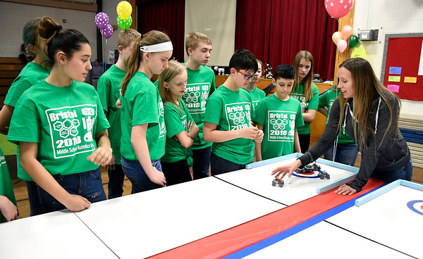 4/12/2018 Mike Orazzi | Staff Sarah Brown explains the rules during the 2018 Middle School Robotics Challenge to students from Greene-Hills Middle School Thursday afternoon.