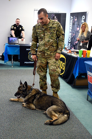 4/12/2018 Mike Orazzi | Staff CT Army National Guard's Andreanos Wheway and Freia during the Lincoln College Career Fair held on campus Thursday.