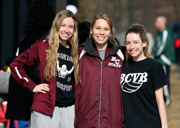 4/12/2018 Mike Orazzi | Staff Bristol Central High School twins Abigail and Alexandra Goralski with tennis coach Sara Defillippi.