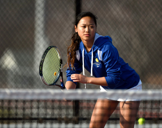 4/12/2018 Mike Orazzi | Staff Bristol Eastern's Tina Guo during Thursday's tennis match.