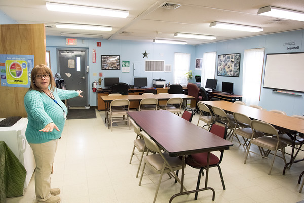 04/11/18 Wesley Bunnell | Staff Director of Youth Services for HRA of new Britain Summer Youth Employment and Learning Program, Leticia Mangual, shows the common meeting room used by students in the program. The program which is located at 58 Scarlett St. helps prepare high school students with training and work experience.