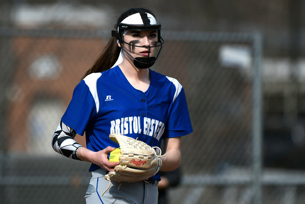 4/13/2018 Mike Orazzi | Staff Bristol Eastern's Erin Girard (13) during Friday's softball with Enfield in Bristol.