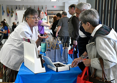 4/14/2018 Mike Orazzi | Staff Bristol Hearing Aids'  Joanne Cyr during the 4th annual Prime Time Senior Fair held at Bristol Eastern High School Saturday.