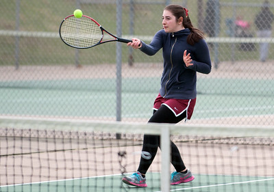 04/17/18  Wesley Bunnell | Staff  Berlin girls tennis at New Britain on Tuesday afternoon. New Britain's Lela Shredidze