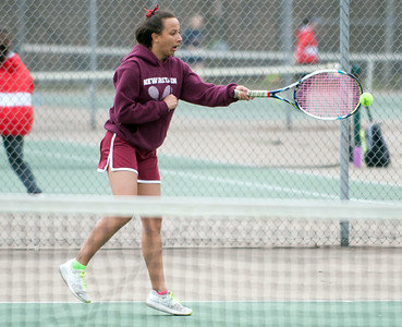 04/17/18  Wesley Bunnell   Staff  Berlin girls tennis at New Britain on Tuesday afternoon. New Britain's Larissa Tabb.