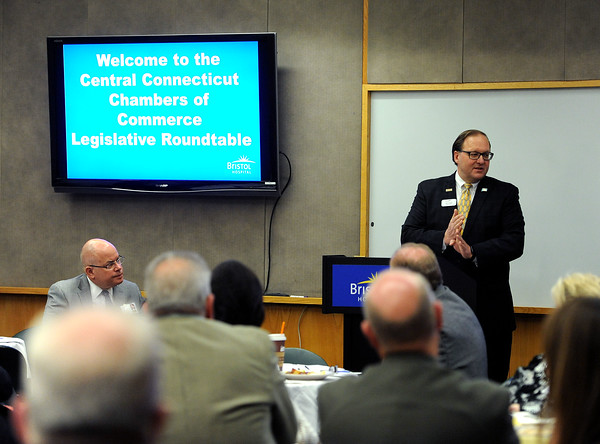 4/18/2018 Mike Orazzi | Staff Paul Lavoie during the Central Connecticut Chambers of Commerce Legislative Action Committee Legislative Roundtable breakfast held at Bristol Hospital Wednesday morning.