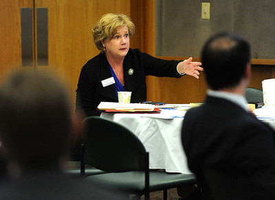 4/18/2018 Mike Orazzi | Staff Cindy Bombard President & CEO Central Connecticut Chambers during the chamber's Legislative Action Committee Legislative Roundtable breakfast held at Bristol Hospital Wednesday morning.