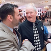04/19/18  Wesley Bunnell | Staff<br /> <br /> The Southington United Way held their annual meeting dinner and auction at the Aqua Turf Club on Wednesday April 18. Southington Town Council member Tom Lombardi, L, shakes hands with 2018 Southington All Star Award Winner John Myers who is the Executive Director of the Southington YMCA after he introduced Myers before his award.