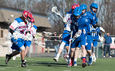 04/20/18  Wesley Bunnell | Staff  Berlin boys lax defeated Bristol Eastern 18-3 on Friday afternoon at Sage Park. Zach Hill (4) with the ball.