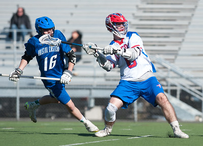 04/20/18  Wesley Bunnell | Staff  Berlin boys lax defeated Bristol Eastern 18-3 on Friday afternoon at Sage Park. TJ Hebert (6).