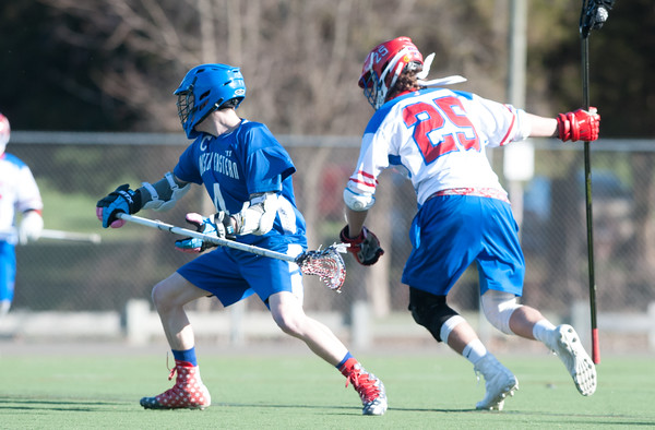 04/20/18 Wesley Bunnell | Staff Berlin boys lax defeated Bristol Eastern 18-3 on Friday afternoon at Sage Park. Zach Hill (4) and Jack Lombardo (25).