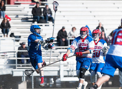 04/20/18  Wesley Bunnell | Staff  Berlin boys lax defeated Bristol Eastern 18-3 on Friday afternoon at Sage Park. Zach Hill (4) and Jack Lombardo (25) and Nick Grant (30).