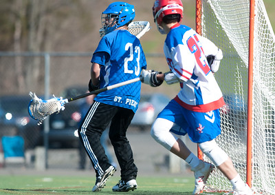 04/20/18  Wesley Bunnell | Staff  Berlin boys lax defeated Bristol Eastern 18-3 on Friday afternoon at Sage Park. Jordan St. Pierre (23) in goal.