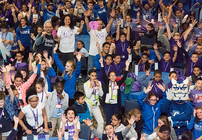 04/27/18  Wesley Bunnell | Staff  The CCSU Ana Grace Project held Love Wins: Finish the Race on Friday to give young middle school students from across New Britain a college experience for the day and have them explore their possibilities. CCSU volunteers included many student athletes. Nelba Marquez-Greene L center, waves to the camera along with hundreds of middle school students and CCSU volunteers.