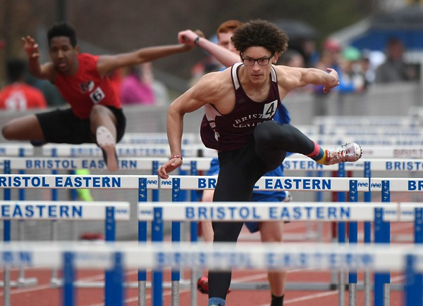 4/27/2018 Mike Orazzi | Staff Bristol Central's Jose Navedo during the Bristol Eastern High School track invitational held on Friday.