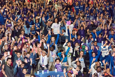 04/27/18  Wesley Bunnell | Staff  The CCSU Ana Grace Project held Love Wins: Finish the Race on Friday to give young middle school students from across New Britain a college experience for the day and have them explore their possibilities. CCSU volunteers included many student athletes. Nelba Marquez-Greene , center standing, waves to the camera along with hundreds of middle school students and CCSU volunteers.