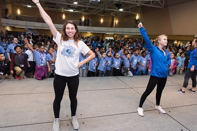 04/27/18  Wesley Bunnell | Staff  The CCSU Ana Grace Project held Love Wins: Finish the Race on Friday to give young middle school students from across New Britain a college experience for the day and have them explore their possibilities. CCSU volunteers included many student athletes. Cheerleaders Alyssa Salafia, L, and Reagan Kenney lead hundreds of middle school students in a cheer.