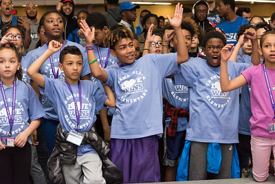 04/27/18  Wesley Bunnell | Staff  The CCSU Ana Grace Project held Love Wins: Finish the Race on Friday to give young middle school students from across New Britain a college experience for the day and have them explore their possibilities. CCSU volunteers included many student athletes. Middle school students cheer along with CCSU cheerleaders.