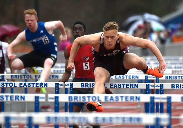 4/27/2018 Mike Orazzi | Staff Bristol Central's Elijah Ortiz during the Bristol Eastern High School track invitational held on Friday.