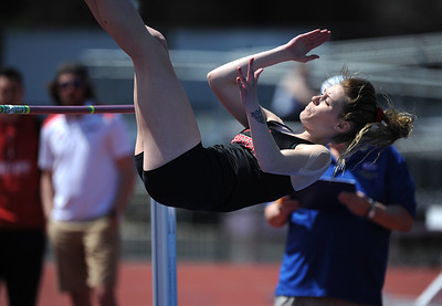 4/28/2018 Mike Orazzi | Staff University of Hartford's Olivia Rougeau during the CCSU Innovational Track Meet Saturday in New Britain.