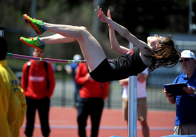 4/28/2018 Mike Orazzi | Staff University of Hartford's Elizabeth Lodge during the CCSU Innovational Track Meet Saturday in New Britain.