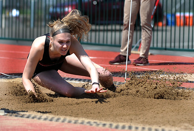 4/28/2018 Mike Orazzi | Staff University of Hartford's Lydia Farmer in the long jump during the CCSU Innovational Track Meet Saturday in New Britain.