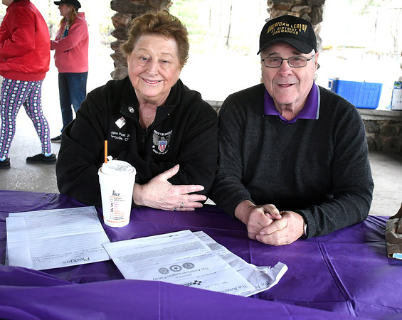 4/28/2018 Mike Orazzi | Staff Barbara Lamontagne and George Castle during the American Legion Family Kids Walk held at Rockwell Park in Bristol Saturday morning.