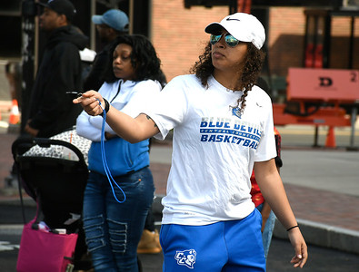 4/28/2018 Mike Orazzi | Staff CCSU's Kiana Patterson while refereeing during the annual Hoops for Homeless in downtown New Britain.