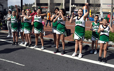 4/28/2018 Mike Orazzi | Staff Northend School cheerleaders during the annual Hoops for Homeless in downtown New Britain.