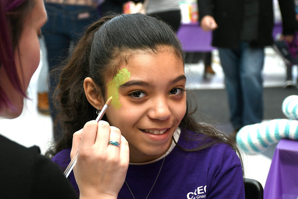 4/7/2018 Mike Orazzi | Staff Julianna Mendez has her face painted during the 6th Annual Dance for Ana with Love held at the CREC Academy of Science and Innovation Saturday in New Britain.