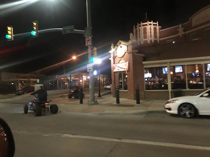 Cheyenne was a cool town.  I wish we weren't hauling ass so we could have explored a little more.  This is the land of the hilljack... my people... and it's totally legal and normal to ride an ATV around in town.