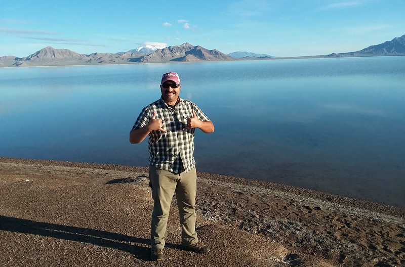 Drive for 350 miles, stop, fuel, stretch, repeat.  Sometimes you had to work a stop in between just to move around a little.  Don't want to get no pulmonary embolism!  Bonneville Salt Flats were as good a place as any!<br /> <br /> So... ermmm... this is a little gross, but astute observers may notice I'm wearing the same clothes in every picture.  I had a change of clothes with me but I just really didn't care about hygiene while hammering it cross-country.  That's right.  Same clothes.  No shower.  Didn't put on fresh deodorant.  Didn't even fucking brush my teeth!  I'm a filthy animal, really.