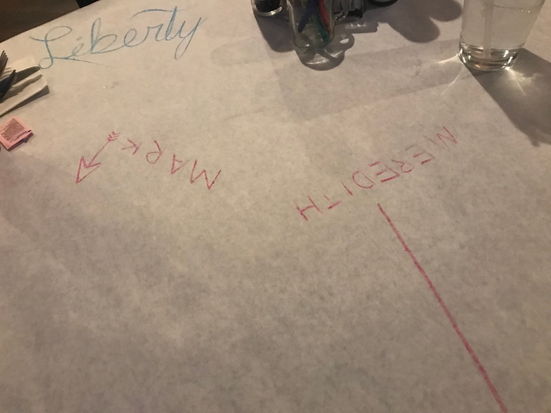 We stopped for dinner at a 'Rib and Chop' restaurant in Cheyenne Wyoming.  Pretty fucking awesome food.  Our server's name was 'Liberty'.  She was good at writing upside down in cursive.  Hey - do one thing, and do it well.