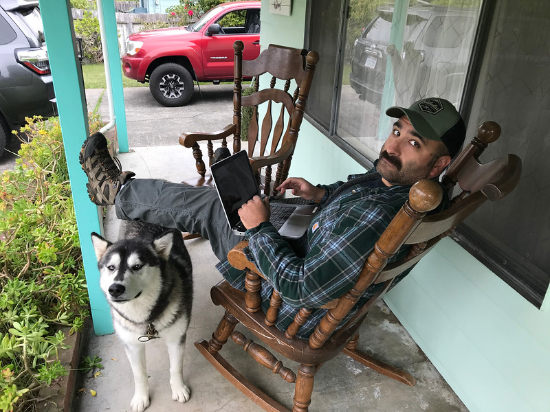 And... home!  Enjoying the rocking chairs Cindy forced upon us, and my sweet Cabelas hat that I bought in Omaha, and our dog - who missed us since she was kenneled over the past 4 days.  New truck is in the background.   Ironically I am working on this blog in this photo.