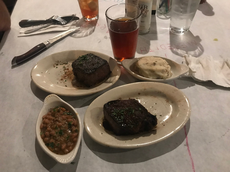 Steaks, beans, mashed potatoes, and beer.  Fucking 'Murica.
