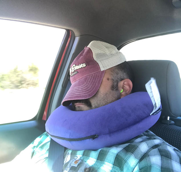 Because we were driving non-stop, we slept in shifts.  I had to laugh at this pic Mer took of me sleeping.