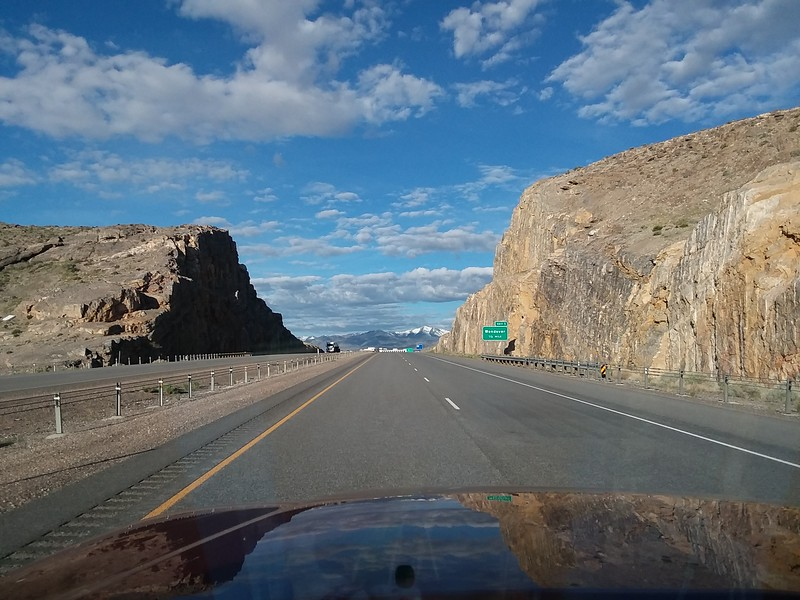 Westbound and down on I-80!  The view through the windshield.  It simultaneously is always the same, and always changing...