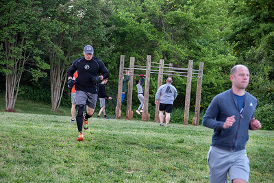 The F3 workout also includes plenty of running back and forth. [Bill Giduz photo]