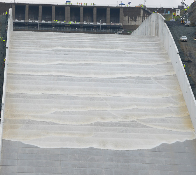 In February 2017, it was around this area that the Oroville Dam spillway began to break apart. On Tuesday water flowed down the rebuilt concrete structure for the first time since the crisis in Oroville. (Matt Bates -- Enterprise-Record)