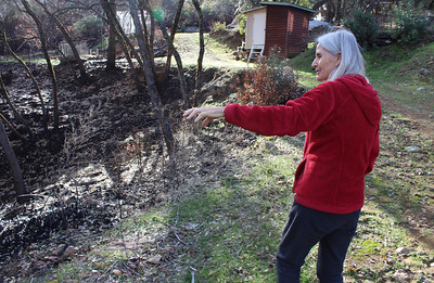 Katia Wilder points out a ravine that funneled the Camp Fire toward her Cherokee home. It had been recognized as a hazard and had been cleared of brush and low branches. The flames got within 15 feet of her well house in the background, but firefighters were able to hold it there. (Steve Schoonover -- Chico Enterprise-Record)