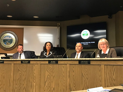 Left to right, Oroville Mayor Chuck Reynolds and council members Janet Goodson, Eric J. Smith and Linda Draper, along with the rest of the City Council (not pictured)atten a City Council meeting earlier this month. Goodson and Draper have been removed from the committees on which they served. (Robin Epley -- Enterprise-Record)