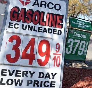 Gas price signs in front of the Arco station on 110 West 9th Street Tuesday, April 9, 2019, in Chico, California. (Matt Bates -- Enterprise-Record)