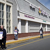 BRYAN EATON/Staff Photo. Workers of Stop and Shop in Amesbury picket outside the store on Thursday afternoon with the doors locked.