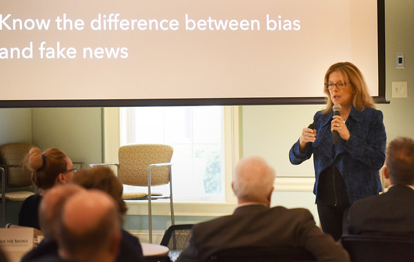 BRYAN EATON/Staff Photo. North of Boston Media Group publisher Karen Andreas speaks to the Greater Newburyport Chamber of Commerce and Industry about the proliferation of fake news.