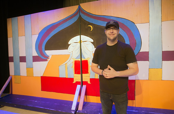JIM VAIKNORAS/Staff photo Triton school resource officer   co-director of Aladdin John Lucey during a rehearsal for Triton Regional Middle School production of Aladdin at Triton High School Saturday.