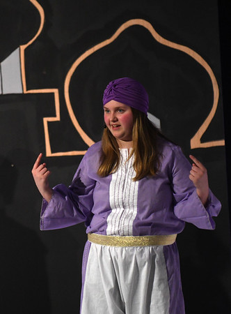 JIM VAIKNORAS/Staff photo Kailyn Warren as the Genie during a rehearsal for Triton Regional Middle School production of Aladdin at Triton High School Saturday.