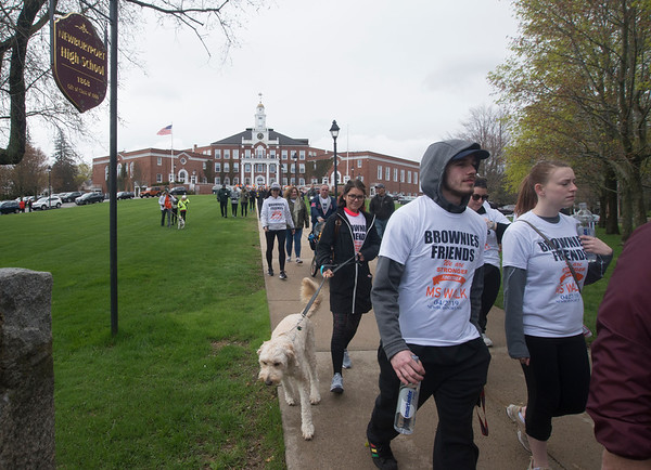 JIM VAIKNORAS/Staff photo About 200 people, an dozens of dogs, step off from Newburyport High School in the annual Walk MS, Sunday morning.