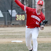 JIM VAIKNORAS/Staff photo  Amesbury's Blake Bennett pitches against Newburyport at Pettingell Park in Newburyport Friday.