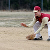 JIM VAIKNORAS/Staff photo  Newburyport's Tyler Koglion fields a grounder against Amesbury Pettingell Park in Newburyport Friday.